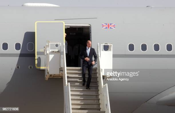 Prince Williams arrives at the Marka International Airport to hold official visits in Amman Jordan on June 24 2018