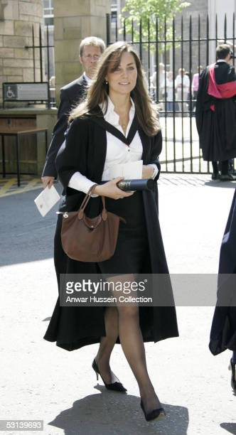 Prince William's girlfriend, Kate Middleton, arrives for his graduation ceremony at the University Of St Andrews on June 15, 2005 in St Andrew's,...