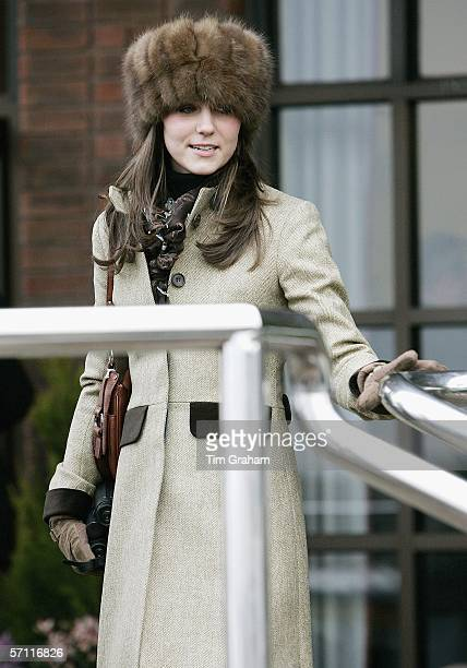 Prince William's girlfriend Kate Middleton wears a Russian style fur hat to the final day of Cheltenham Races on March 17 2006 in Cheltenham England