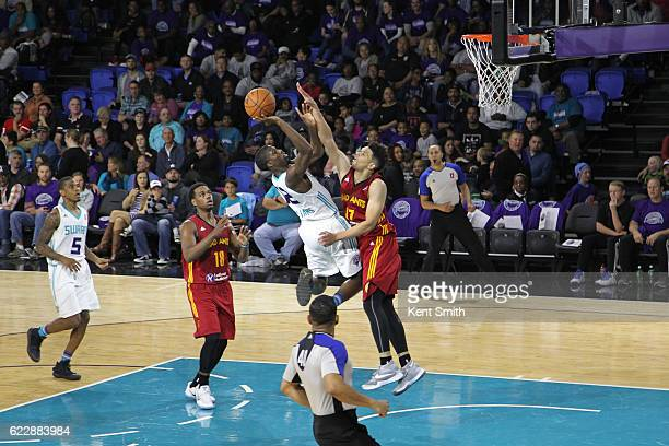 Prince Williams of the Greensboro Swarm heads to the basket against Stephan Hicks of the Fort Wayne Mad Ants during the game at the The Field House...
