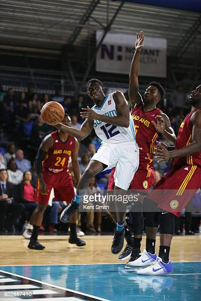 Prince Williams of the Greensboro Swarm passes against Julyan Stone of the Fort Wayne Mad Ants during the game at the The Field House at the...