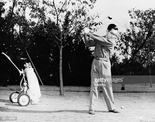 Prince Yoshi later Masahito Prince Hitachi the second son of Emperor Hirohito of Japan playing golf in Tokyo 1960