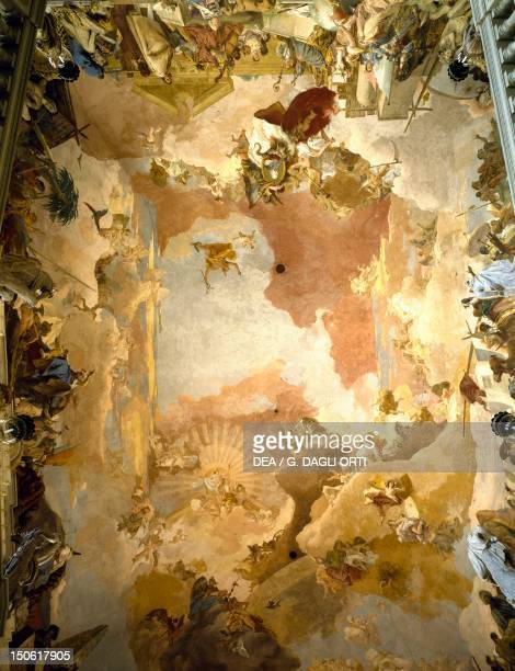 PrinceBishop CarlFriedrich von Greuiffenklau's triumph surrounded by four continents fresco by Giovanni Battista Tiepolo ceiling of the main...