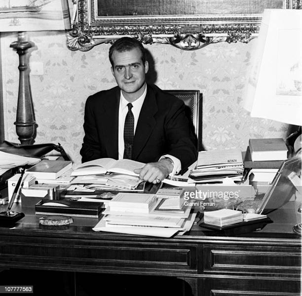 Princer Juan Carlos of Borbon in his office of the Zarzuela Palace 2nd December 1968 Madrid Spain