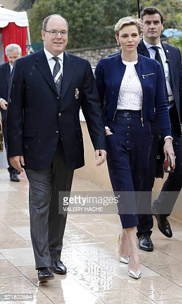 Prince's Albert II of Monaco and Princess Charlene arrive to attend the MonteCarlo ATP Masters Series Tournament final tennis match between Spain and...