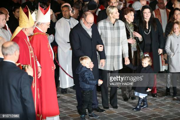 Prince's Albert II of Monaco Princess Charlene and their children prince Jacques and princess Gabriella arrive on January 26 2018 in Monaco during...