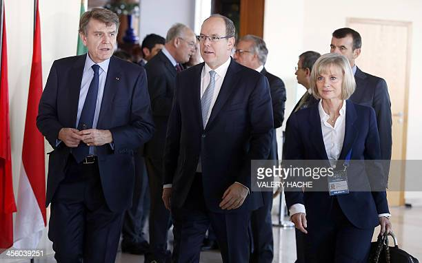 Prince's Albert II of Monaco World Policy Conference President Thierry de Montbrial and member of French parliament Elisabeth Guigou arrive at the...
