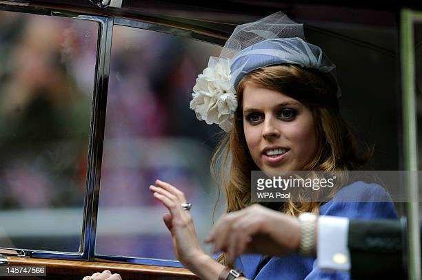 Princes Beatrice passes along The Mall on her way to St Paul's for a service of thanksgiving on June 5 2012 in London England For only the second...