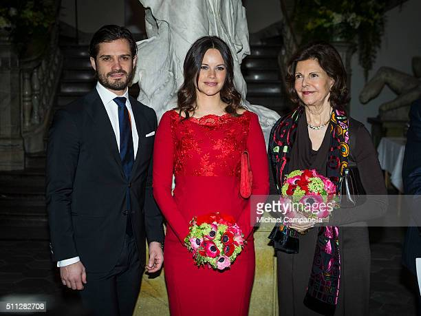 Princes Carl Philip, Princess of Sofia, and Queen Silvia of Sweden attend a formal gathering at the Royal Swedish Academy of Fine Arts on February...