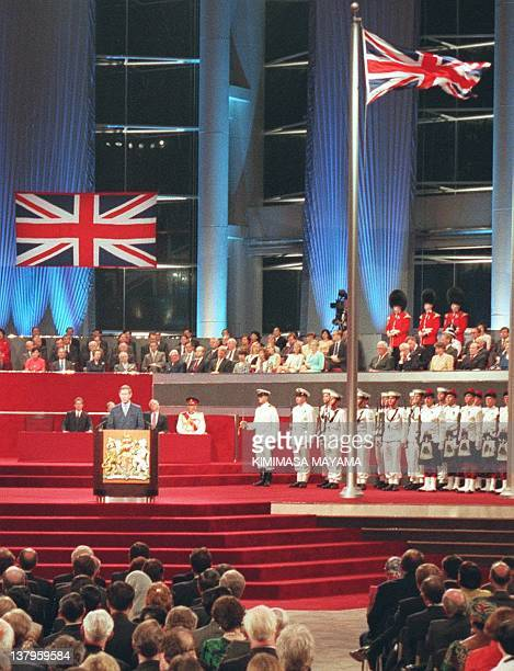 Princes Charles speaks 30 June during the handover ceremony moments before the lowering of the Union Jack marking the end of 156 years of British...