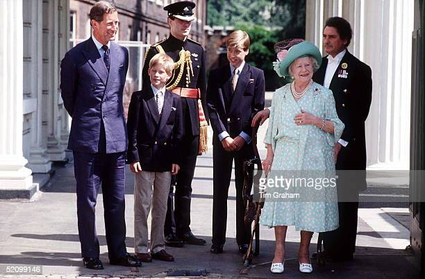 Princes Charles William And Harry At Clarence House With The Queen Mother To Celebrate Her Birthday