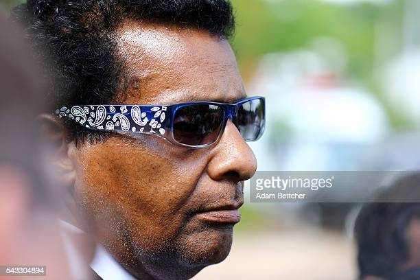 Prince's halfbrother Alfred Jackson listens to his attorney speak to the media outside of the Carver County Courthouse on June 27 2016 in Chaska...