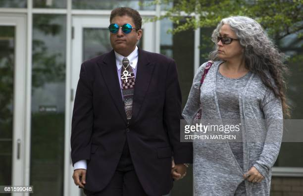 Prince's halfbrother Omarr Baker walks outside the Carver County District Court in Chaska Minnesota on May 10 2017 A court case involving the estate...