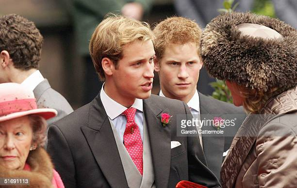 Princes Harry and William leave Chester Cathedral after the wedding of Lady Tamara Grovesnor on November 6 2004 in Chester England Lady Tamara is the...
