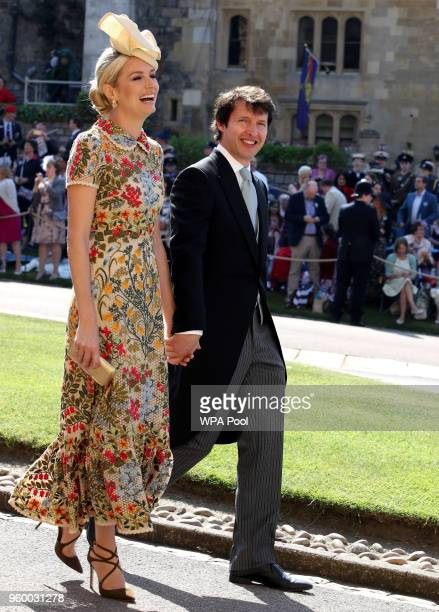 Prince's Harry's friend British singer James Blunt and and Sofia Wellesley arrive for the wedding ceremony of Britain's Prince Harry and US actress...