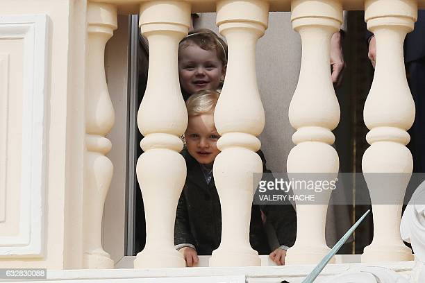 Prince's Jacques of Monaco and his sister Princess Gabriella of Monaco appear at the balcony during the SainteDevote festivities on January 27 2017...