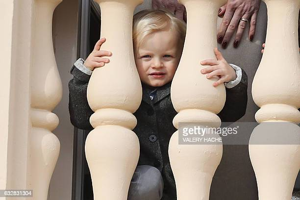 Prince's Jacques of Monaco appears at the balcony during the SainteDevote festivities on January 27 2017 in Monaco Saint Devote is the patron saint...