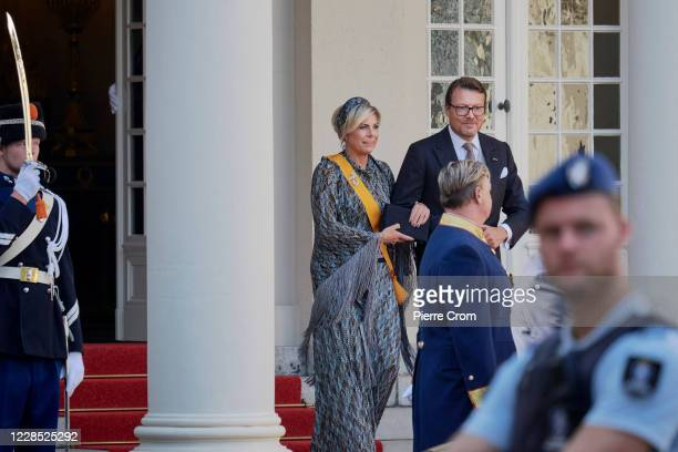 Princes Laurentien and Prince Constantijn of The Netherlands leave the Royal palace by car to the Grote Kerk on September 15, 2020 in The Hague,...