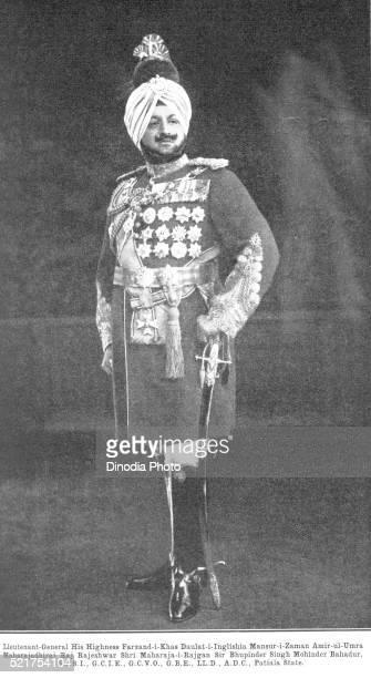 princes lieutenant general maharajadhiraj raj rajeshwar shri maharaja rajgan sir bhupinder singh mohinder patiala, punjab - lieutenant stock pictures, royalty-free photos & images