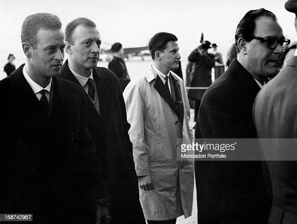 Princes Moritz of Hesse and Charles of Hesse walking together with their cousin Simeon SaxeCoburgGotha former King of Bulgaria 1950s Stockholm