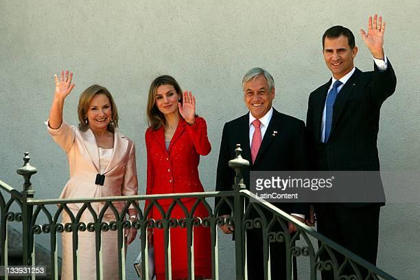 Princes of Asturias Felipe Borbon and Letizia Ortiz pose with the President of Chile Sebastian Piñera and his wife Cecilia Morel at the Palacio de la...