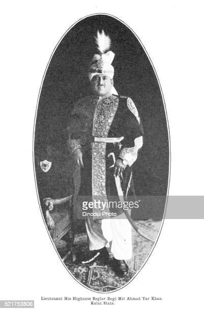 princes of india, lieutenant his highness beglar begi mir ahmad yar khan, kalat state, balochistan, pakistan - lieutenant stock pictures, royalty-free photos & images