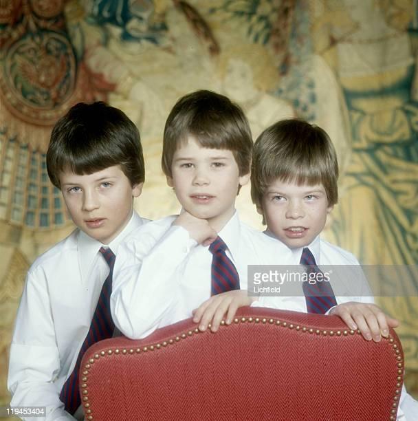 Princes of Liechtenstein, Prince Constantin, Prince Alois and Prince Maximilian, Vaduz Castle, Liechtenstein, 7th February 1979.