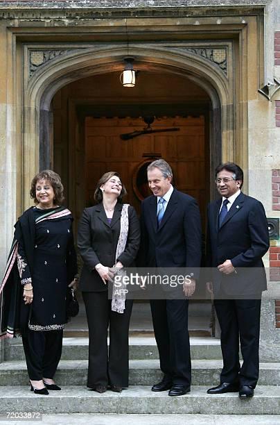 British Prime Minister Tony Blair and his wife Cherie Blair centre receive Pakistan President Pervez Musharraf right and first lady Sahba Musharraf...