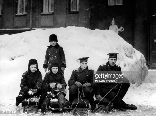 Princes Rostislav Alexandrovich, Dmitri Alexandrovich, Nikita Alexandrovich, Andrei Alexandrovich and Vasili Alexandrovich outsi, circa 1913. Found...