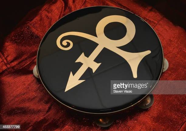 Prince's stage used Remo tambourine from 1993 on display at Icons Idols Rock n' Roll on December 3 2013 in New York City