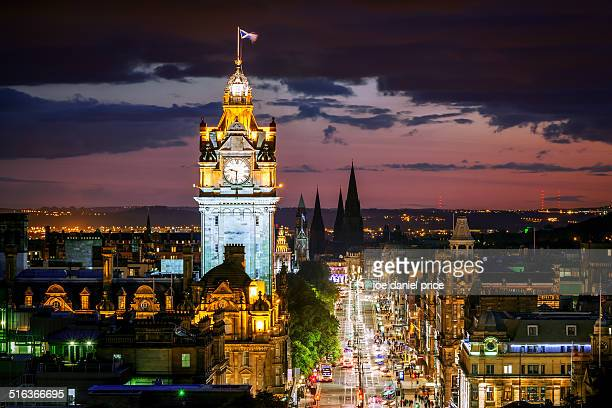 princes street from calton hill, edinburgh - balmoral hotel stock photos and pictures