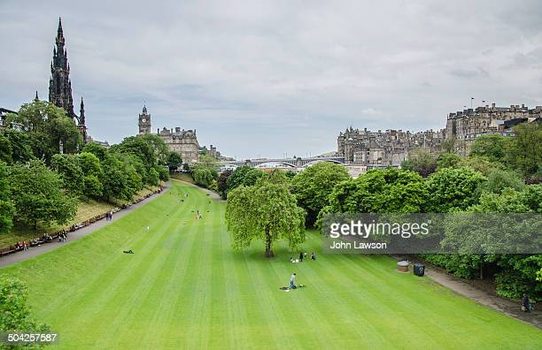 Princes Street Gardens are popular with tourists and locals alike and are crowded on sunny summer days.