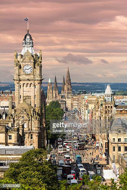princes street in edinburgh in scotland - clock tower stock pictures, royalty-free photos & images
