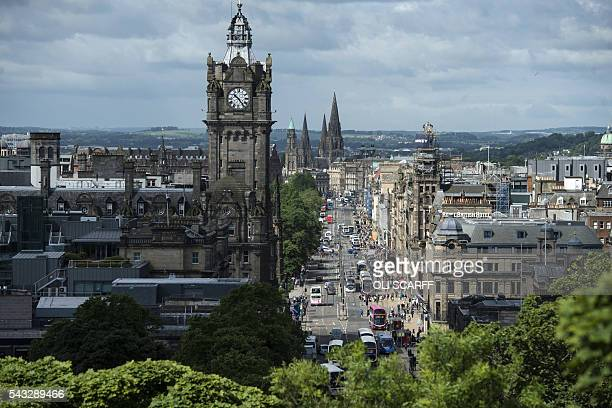 Princes Street is pictured from Calton Hill in the centre of Edinburgh, Scotland on June 27, 2016. British leaders battled to calm markets and the...