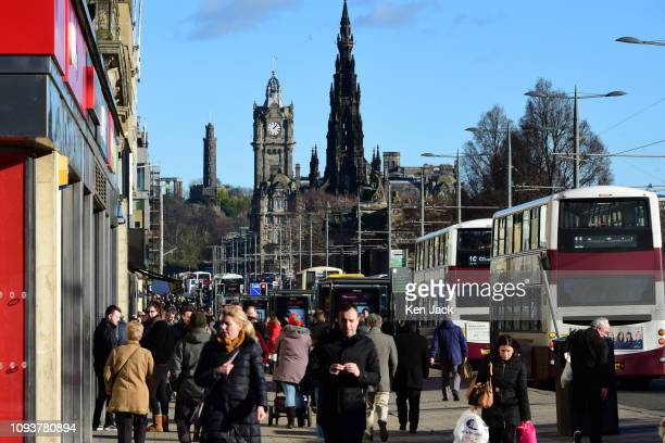 Princes Street sparkles in the sun as freezing temperatures give way to milder weather on February 4, 2019 in Edinburgh, Scotland.