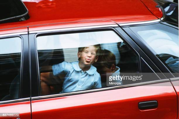Princes William and Harry leaving hospital after visiting the Duchess of York and her daughter Princess Beatrice at Portland Hospital.