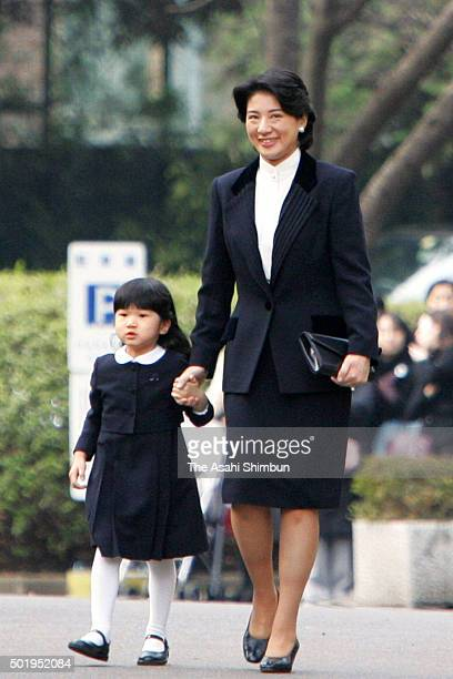 Princess Aiko and Crown Princess Masako are seen on arrival at the Gakushuin Kindergarten to attend the Hina Matsuri Girls' Day festival on March 3...