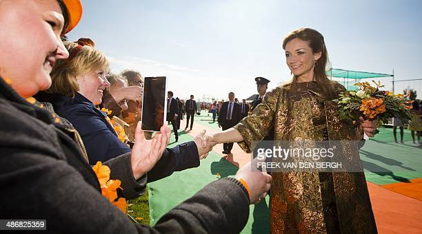 Princess Aimee takes part in the celebrations of the first-ever King's Day , the birthday of the king in De Rijp, on April 26, 2014. AFP PHOTO POOL...