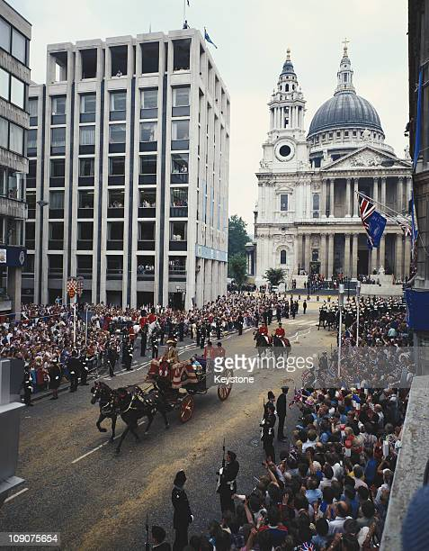 Princess Alexandra and Angus Ogilvy leave St Paul's Cathedral in London by coach after the wedding of Charles Prince of Wales and Lady Diana Spencer...