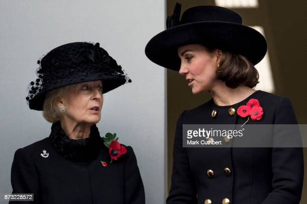 Princess Alexandra and Catherine, Duchess of Cambridge during the annual Remembrance Sunday memorial on November 12, 2017 in London, England. The...