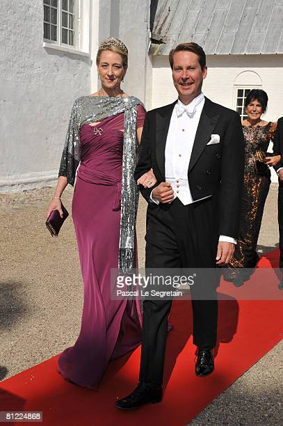 Princess Alexandra and Greve JeffersomFriedrich von Pfeil arrive to attend the wedding between Prince Joachim of Denmark and Marie Cavallier on May...