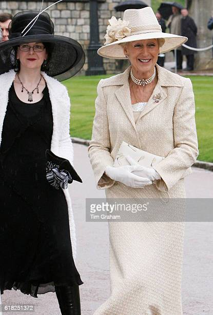 Princess Alexandra and her daughter Marina Mowatt arrive at St George's Chapel Windsor Castle for Thanksgiving Service for the Queen's 80th Birthday