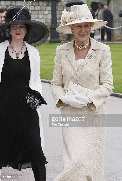 Princess Alexandra and her daughter Marina Ogilvy arrive at St George's Chapel Windsor Castle for Thanksgiving Service for the Queen's 80th Birthday...