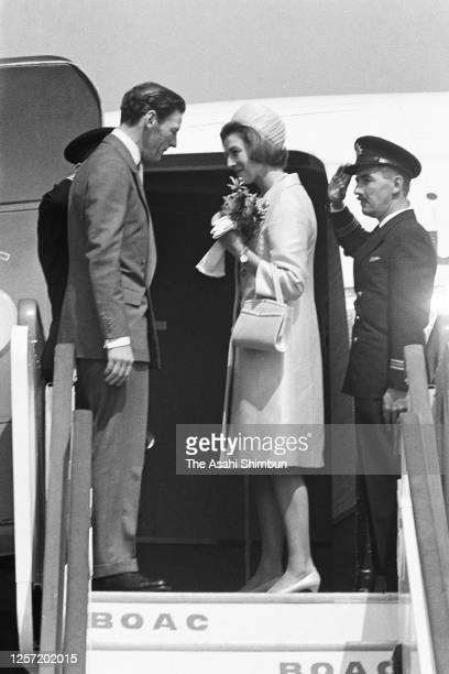Princess Alexandra and her husband Angus Ogilvy are seen on departure at Haneda Airport on September 30, 1965 in Tokyo, Japan.