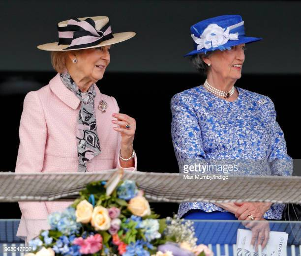 Princess Alexandra and Lady Susan Hussey attend Derby Day of the Investec Derby Festival at Epsom Racecourse on June 2, 2018 in Epsom, England.