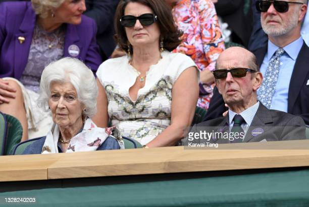 Princess Alexandra and Prince Edward, Duke of Kent attends day 13 of the Wimbledon Tennis Championships at All England Lawn Tennis and Croquet Club...