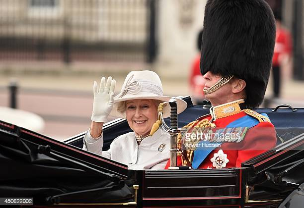 Princess Alexandra and Prince Edward Duke of Kent travel in an open carriage during Trooping the Colour on June 14 2014 in London England