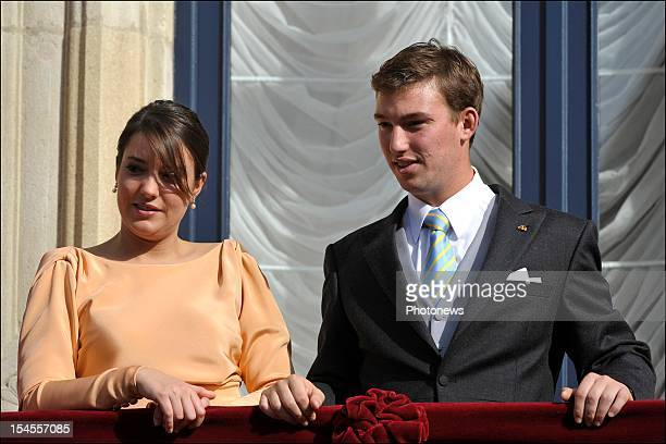 Princess Alexandra and Prince Sebastian of Luxembourg on the balcony of the GrandDucal Palace after the wedding ceremony of Prince Guillaume Of...