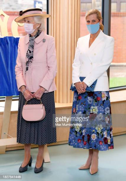 Princess Alexandra and Sophie, Countess of Wessex wear face masks as they visit the Guide Dogs for the Blind Association to open their new south west...