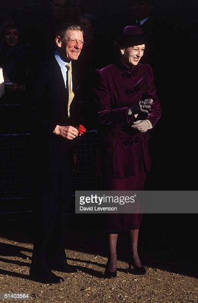 Princess Alexandra and the Hon Angus Ogilvy arriving for the wedding of their daughter Marina Ogilvy to Paul Mowatt on February 2 1990 in Richmond...